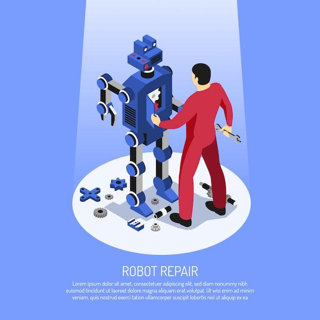 Meccanico in uniforme rossa con strumenti professionali durante la riparazione robot su isometrica blu Vettore gratuito