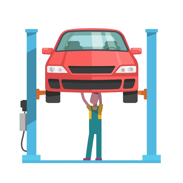 Mechanic repairing a car lifted on auto hoist Free Vector