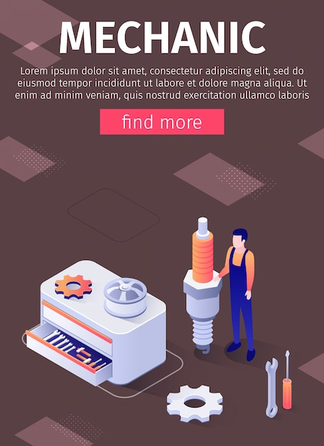 Mechanic service in modern auto repair shop banner template Premium Vector