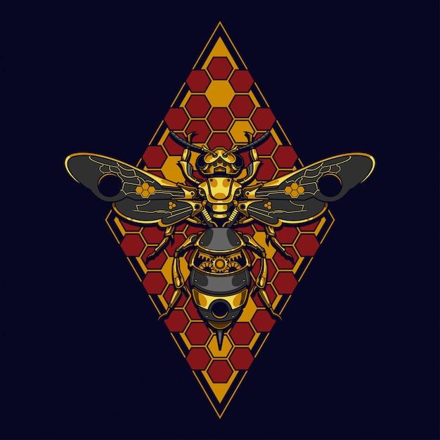 Mechanical bee steampunk illustration and tshirt design Premium Vector