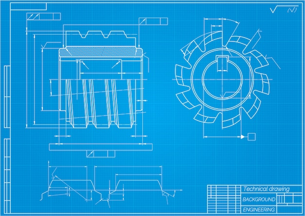 Mechanical engineering drawings on blue background. cutting tools, milling cutter. technical design. blueprint. vector illustration Premium Vector