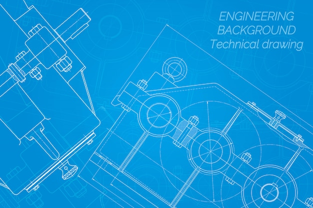 Mechanical engineering drawings on blue background. reducer. technical design. blueprint. Premium Vector