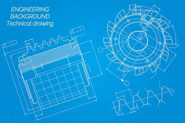 Mechanical engineering drawings on blue Premium Vector