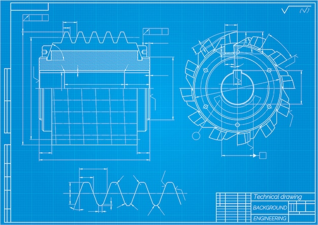 Mechanical engineering drawings. cutting tools, milling cutter. technical design Premium Vector