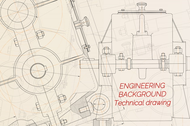 Mechanical engineering drawings on light background. reducer. Premium Vector