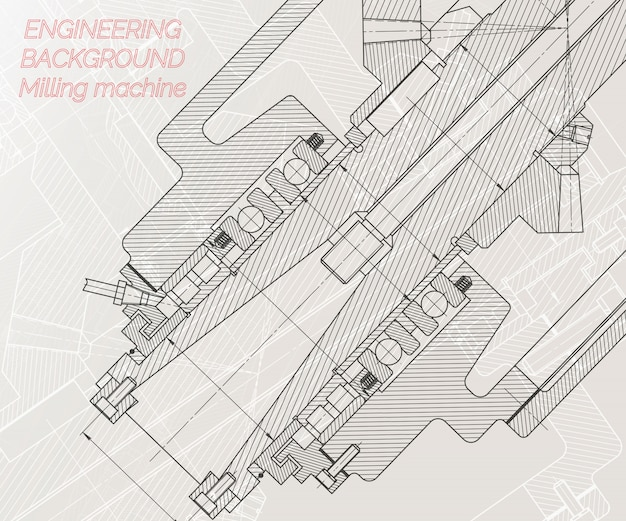 Mechanical engineering drawings on light background Premium Vector