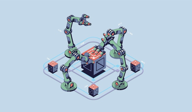 Механическая рука. промышленный робот-манипулятор. современные промышленные технологии. Premium векторы