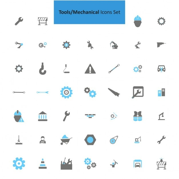 Mechanical icon set Free Vector
