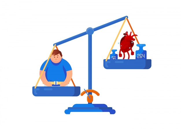 Mechanical scales with a fat man and a sick heart. health care, diet, balance concept Premium Vector