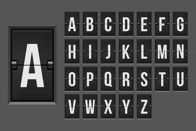 Mechanical scoreboard alphabet  illustration Premium Vector