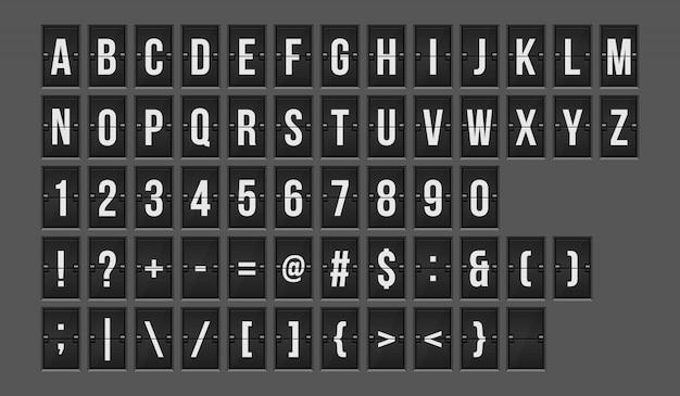 Mechanical scoreboard alphabet and numbers  illustration Premium Vector