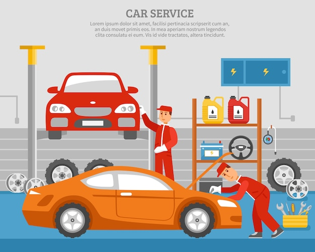 Mechanical services of car Free Vector