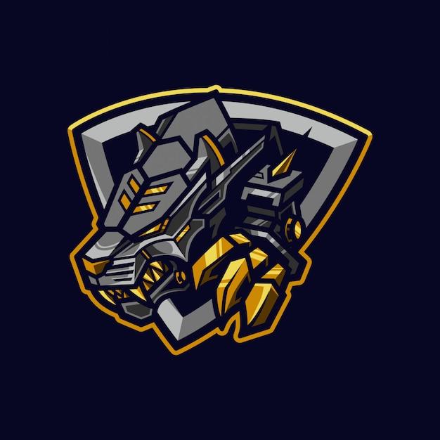 Mechanical tiger esport mascot logo and illustration Premium Vector
