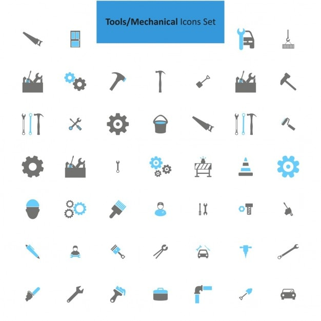 Mechanical tools icons collection Free Vector