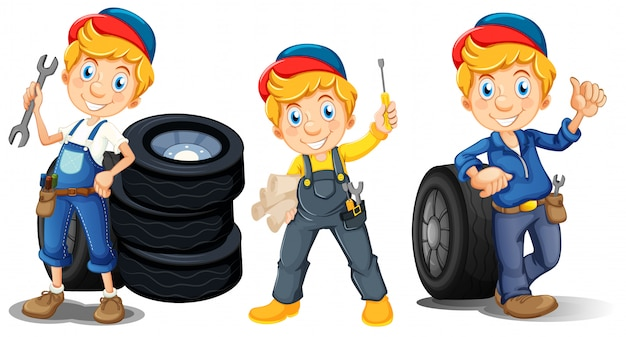Mechanics in three different poses Free Vector