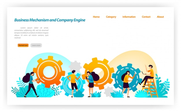 Mechanism and construction in building business strategies and equipment in developing company's engine construction. landing page web template Premium Vector