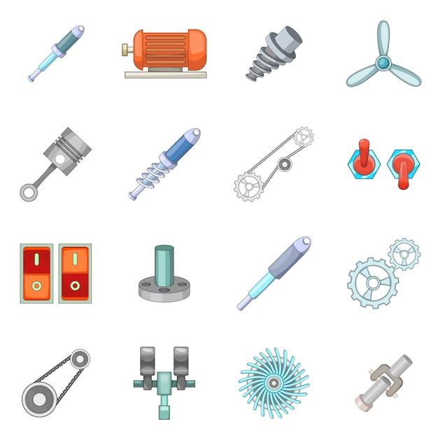 Mechanism parts icons set Premium Vector