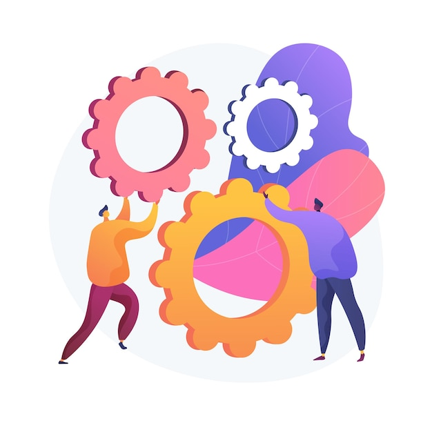 Mechanism of teamwork. cartoon characters spinning gears together. coworking, collaboration, partnership. team building and cooperation technology. Free Vector