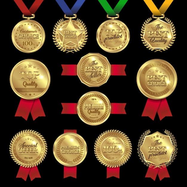 Insieme di etichette dei premi della medaglia Vettore gratuito