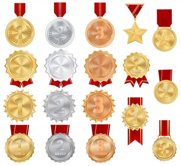 Medal gold, silver and bronze award of winner icon on sport competition achievement Premium Vector