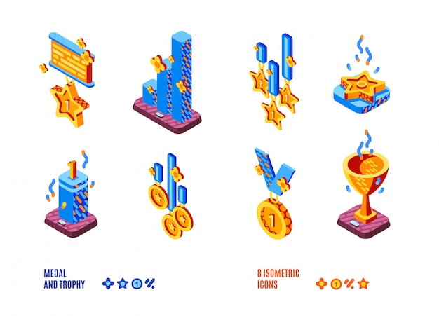 Medal and trophy competition isometric icons set Free Vector