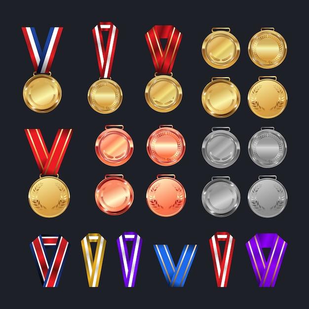Medals award set  different colors  Vector | Premium Download