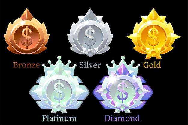 메달 달러 금,은, 청동, 백금 및 다이아몬드. 블랙에 통화 메달 세트 프리미엄 벡터