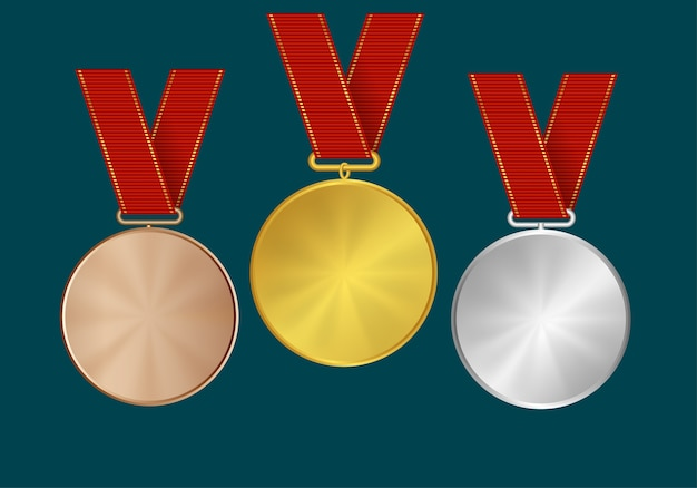 Medals and ribbons for the winners  gold, silver and bronze