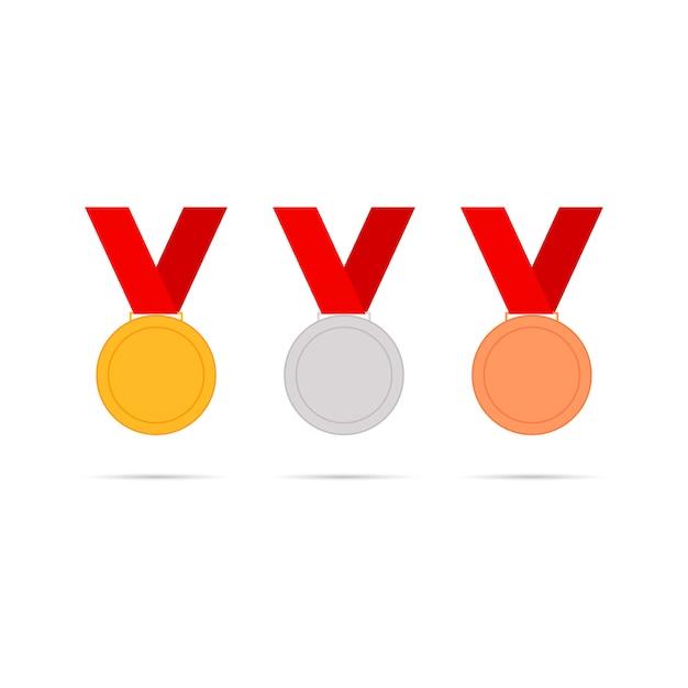 Medals set icons Premium Vector