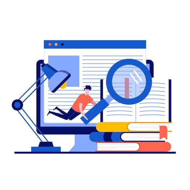 Концепция библиотеки медиа-книги с характером. люди читают электронную книгу для изучения электронной библиотеки в школе. Premium векторы