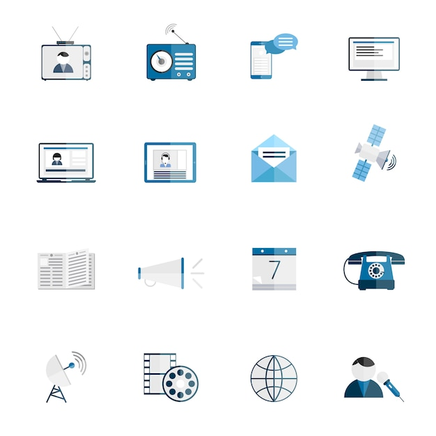 Media communication icons flat set of tv radio blog internet news isolated vector illustration Free Vector