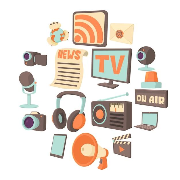 Media communications icon set, cartoon style Premium Vector