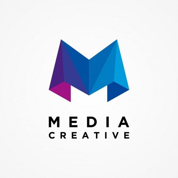 メディアクリエイティブレターmロゴテンプレート ベクター画像