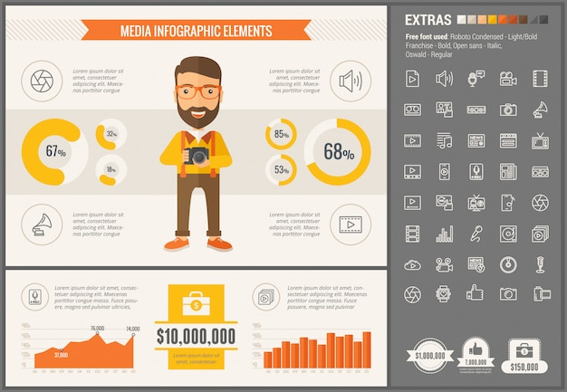 Media flat design infographic template and icons set Premium Vector