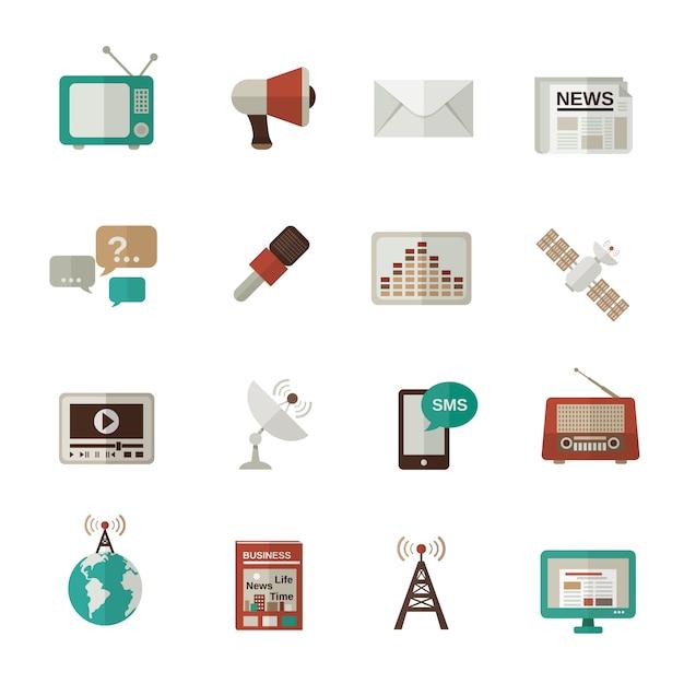 Media icons flat Premium Vector
