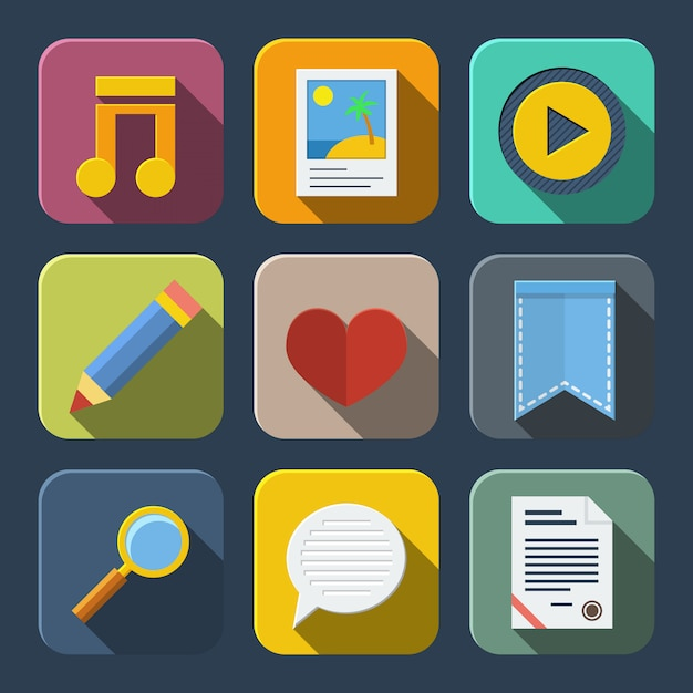 Media icons pack Free Vector