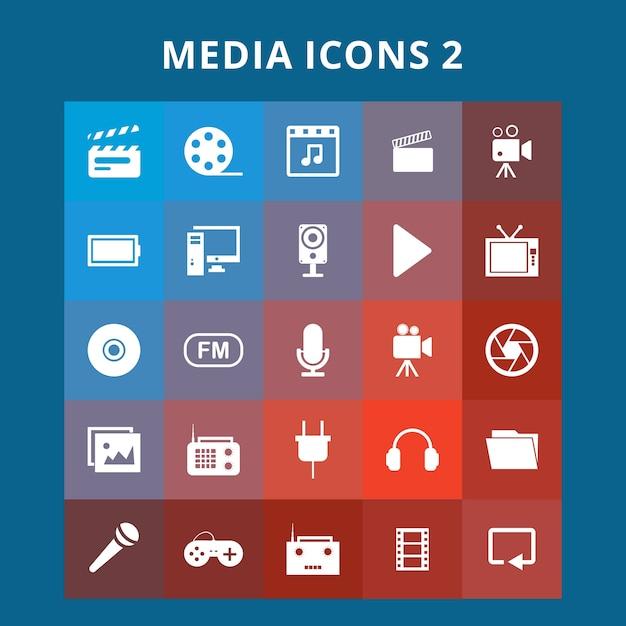 Media icons set Free Vector