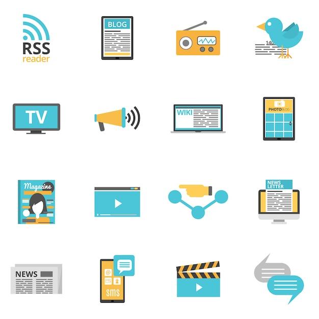 Media icons set Premium Vector
