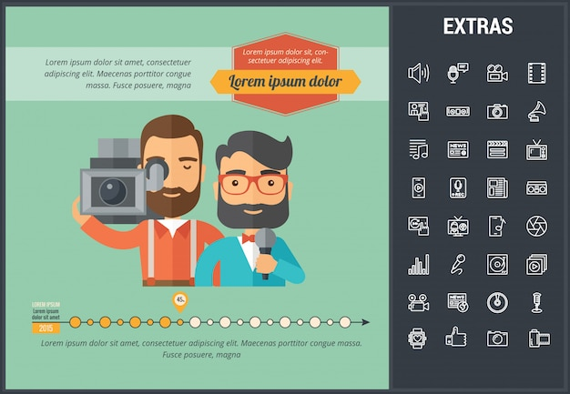 Media infographic template, elements and icons. Premium Vector