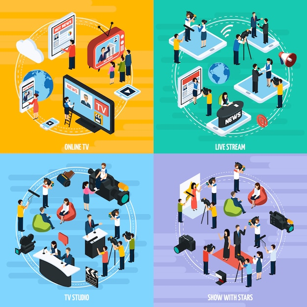 Media network isometric template Free Vector