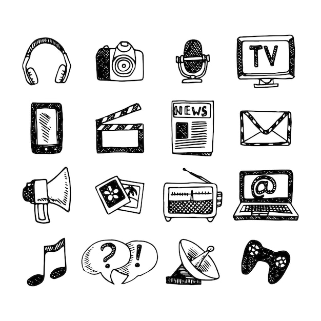 Media and news icons sketch set Free Vector
