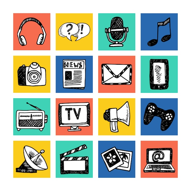 Media news information service broadcasting television icons set colored isolated vector illustration Premium Vector