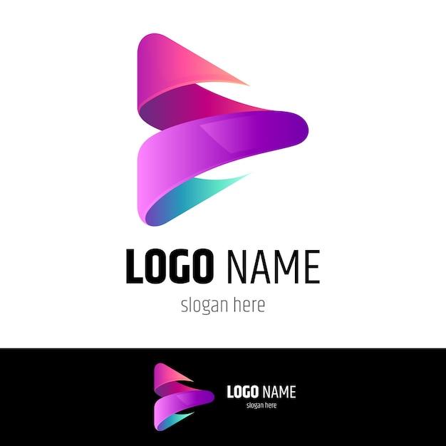 Media play logo concept Premium Vector