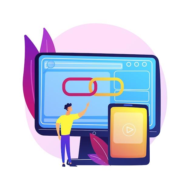 Lettore multimediale, software, applicazione per computer. app di geolocalizzazione, funzione di determinazione della posizione. attuatore maschio, personaggio dei cartoni animati del programmatore. Vettore gratuito