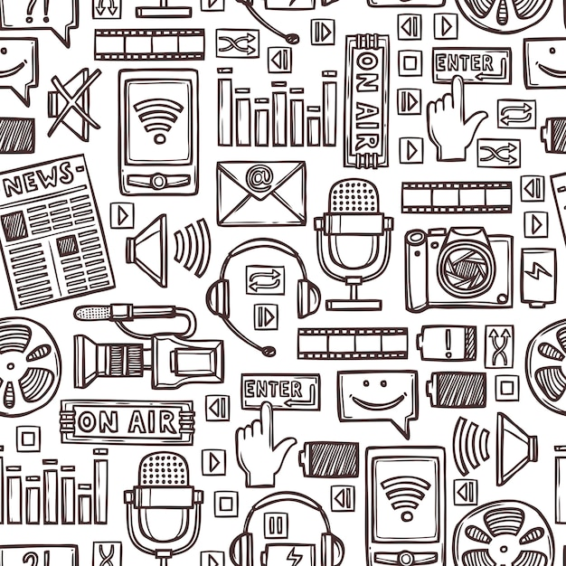 Media sketch seamless pattern Premium Vector