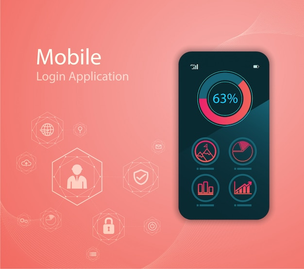Media technology illustration with mobile phone and icons. Premium Vector