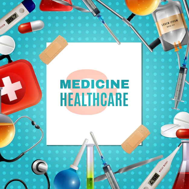 Medical accessories products colorful background frame Free Vector