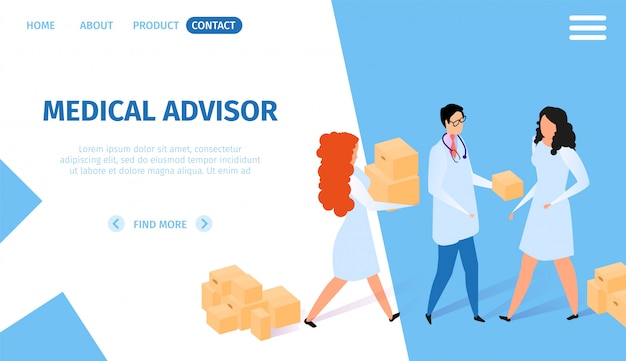 Medical advisor horizontal banner. infographics Premium Vector