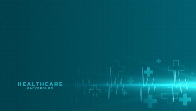Медицина и здравоохранение фон с линией кардиографа Бесплатные векторы