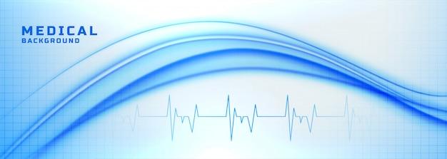 ハートビートラインと医療およびヘルスケアのバナー 無料ベクター